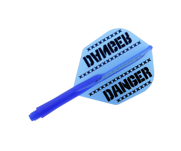 DARTS FLIGHT【 Ptera Factory 】Shaft一體型Flight Seamless Shape DANGER Blue