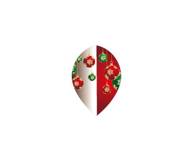 DARTS FLIGHT【 PRO 】Front Christmas Color Teardrop Red